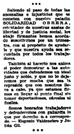 Carta de suport a Solidaridad Obrera enviada per Eugenio Valdenebro i Julián Gil publicada en el periòdic barceloní Solidaridad Obrera del 28 de juny de 1932
