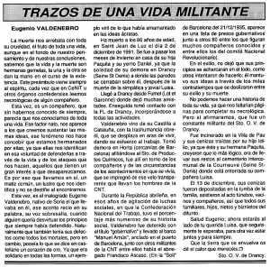 Necrològica d'Eugenio Valdenebro apareguda en el periòdic tolosà Cenit del 7 de gener de 1992