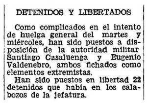 Notícia de la detenció d'Eugenio Valdenebro apareguda en el diari valencià Las Provincias de l'11 de novembre de 1934