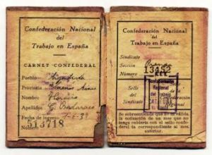Carnet confederal de Horacio Badaraco (Cataluña, 1937)