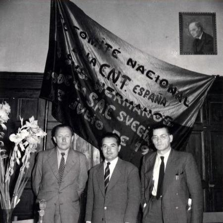 De izquierda a derecha: Helmut Rüdiger, Bernando Merino y Fritz Linow durante el Congreso de la SAC (Estocolmo, septiembre de 1953) [SAC]