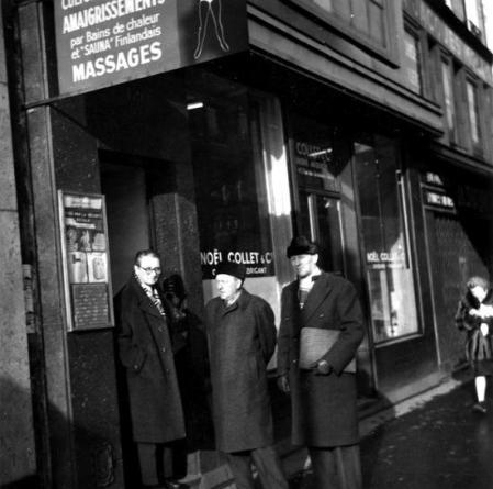 De izquierda a derecha: Albert de Jong, Helmut Rüdiger y Evert Arvidsson durante un congreso de la AIT  (París, años cincuenta) [SAC]