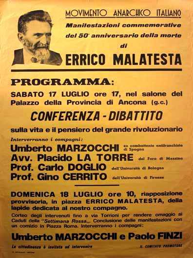 Cartel de un debate sobre Errico Malatesta conla intervención de Gino Cerrito (Ancona, 1982)