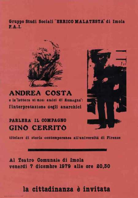 Cartel de una charla de Gino Cerrito (Imola, 1979)