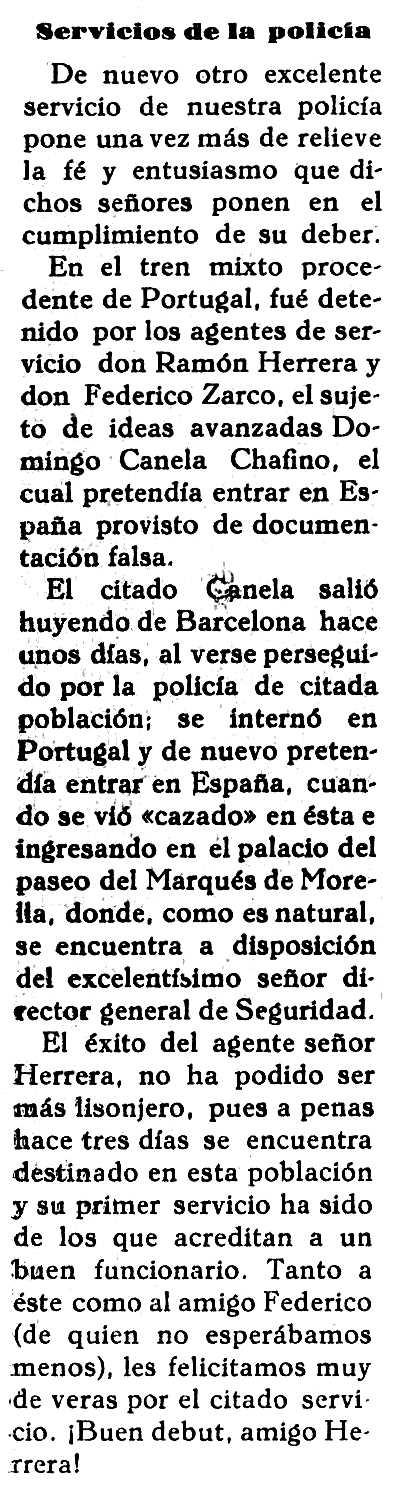 Noticia de la detención de Domingo Canela aparecida en el diario de Cáceres Nuevo Día del 6 de julio de 1928