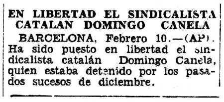 Noticia de la liberación de Domingo Canela aparecida en el diario de La Habana (Cuba) Diario de la Marina del 11 de febrero de 1931