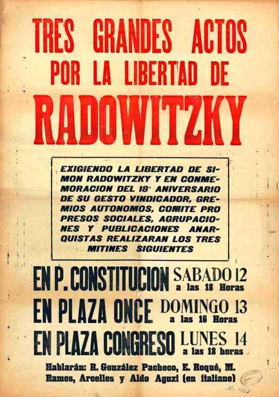 Ciclo de mitin por Simón Radowitzky con la intervención de Aldo Aguzzi (Buenos Aires, noviembre de 1927)