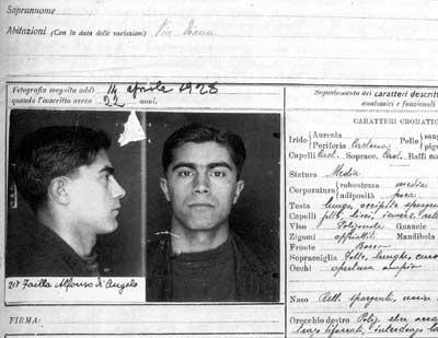 Ficha policial de Alfonso Failla