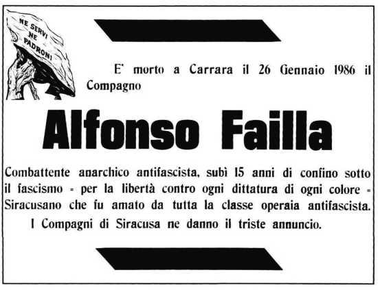 Anuncio de la muerte de Alfonso Failla aparecido en Umanità Nueva (30 de abril de 1966)