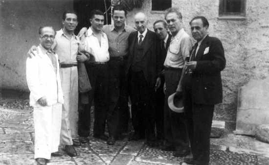 De izquierda a derecha: Filippo Guzzardi, Giovanni Spataliatore, Alfonso Failla, Pio turrones, Paolo Schicchi, D'Andrea, Armando Borghi y Filippo Gramignano (Palermo, 1946)